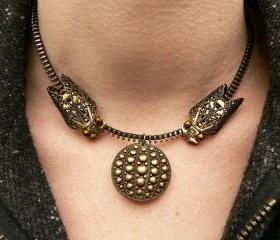 Steampunk Necklace - Zipper Necklace - Cicada Necklace